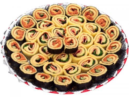 s09壽司蛋糕拼盤<br>(圓盤:40個 大銀盤:72個)<br>(已改用手把銀盤)